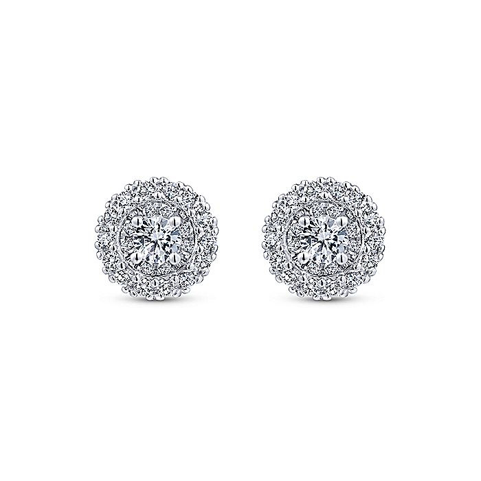 14K White Gold Double Halo Round Diamond Stud Earrings