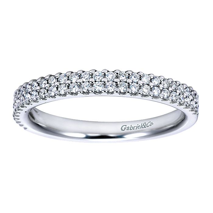 14K White Gold Double Rows Contemporary Tiger Claw Fancy Diamond Band