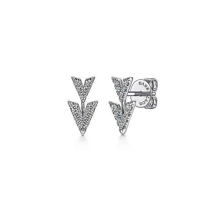 14K White Gold Double V Diamond Stud Earrings