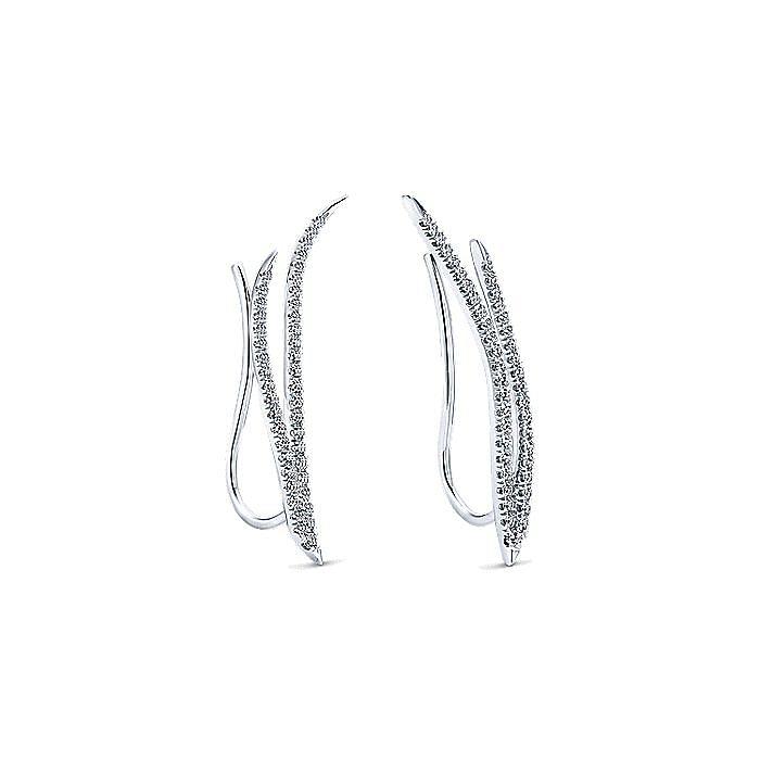14K White Gold Dual Strand Diamond Ear Climber Earrings