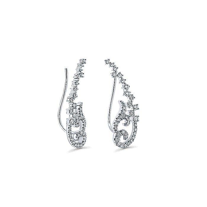 14K White Gold Elaborate Diamond Earring Climbers