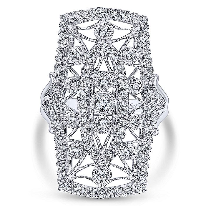 14K White Gold Elongated Cutout Diamond Statement Ring