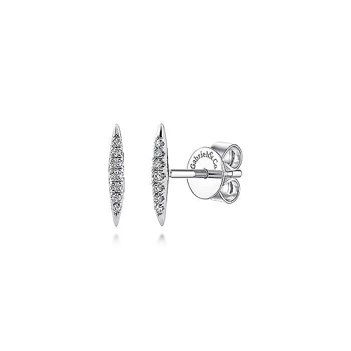 14K White Gold Elongated Diamond Bar Stud Earrings