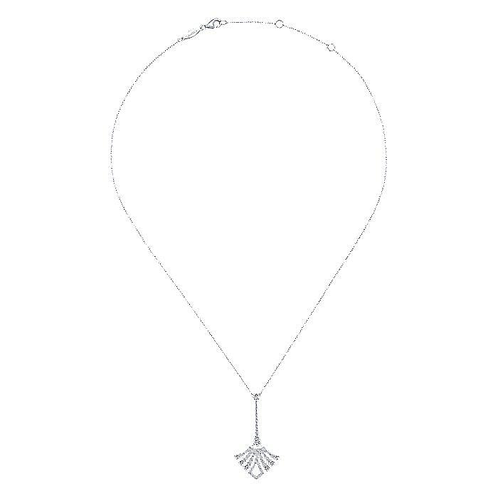 14K White Gold Elongated Pavé Diamond Fan Pendant Necklace