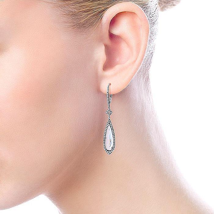 14K White Gold Elongated Teardrop Rock Crystal Drop Earrings