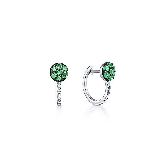 14K White Gold Emerald Cluster and 10mm Diamond Huggie Earrings