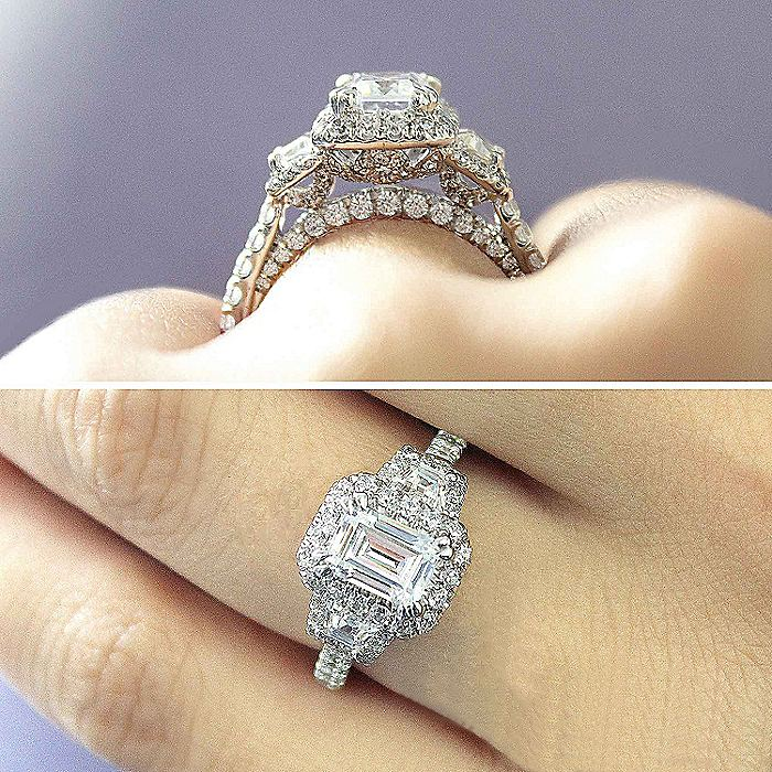 14K White Gold Emerald Cut 3 Stone Halo Diamond Engagement Ring