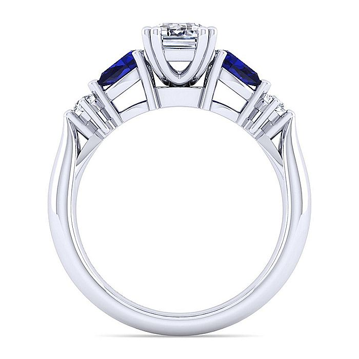 14K White Gold Emerald Cut Five Stone Sapphire and Diamond Engagement Ring