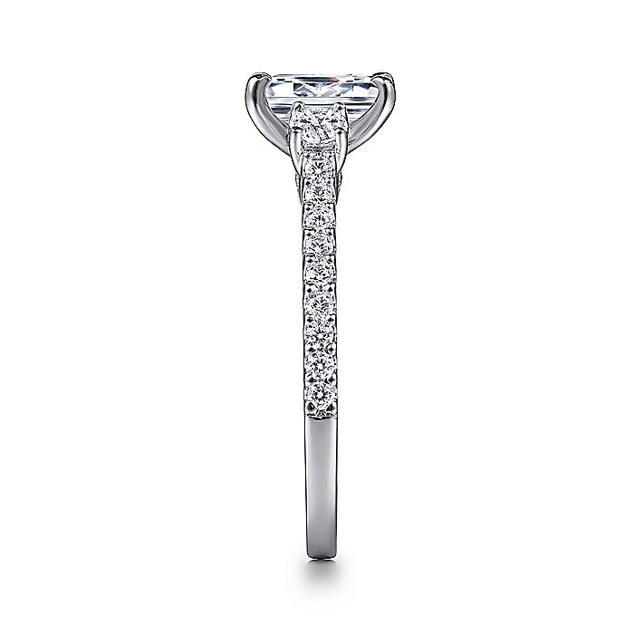 14K White Gold Emerald Cut Three Stone Diamond Engagement Ring