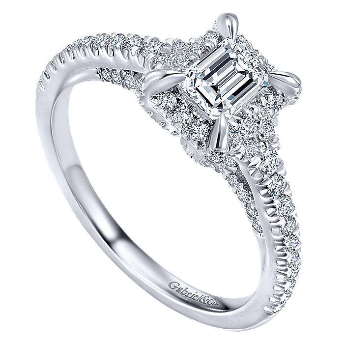 14K White Gold Emerald Halo Complete Diamond Engagement Ring