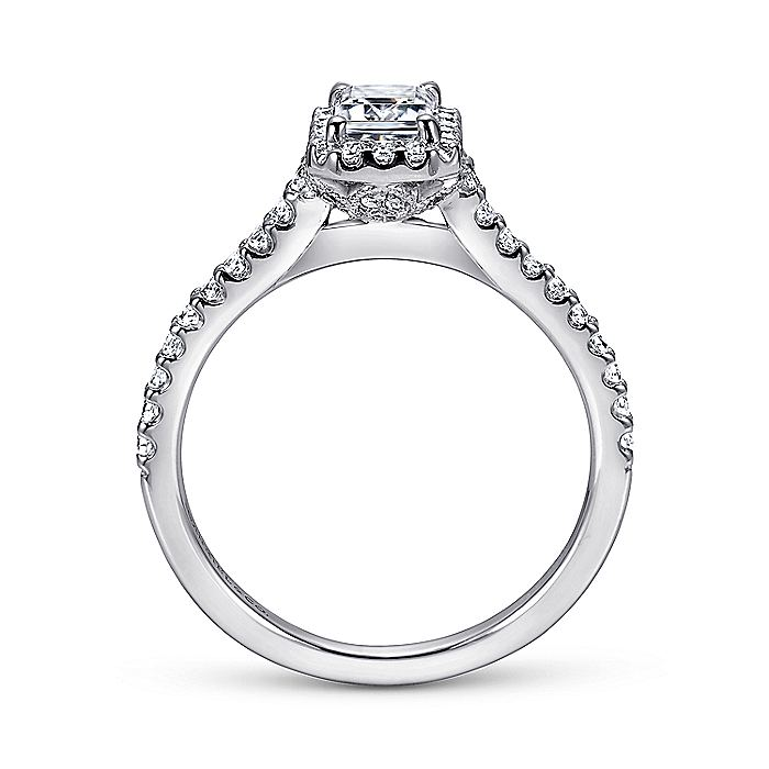 14K White Gold Emerald Halo Diamond Engagement Ring