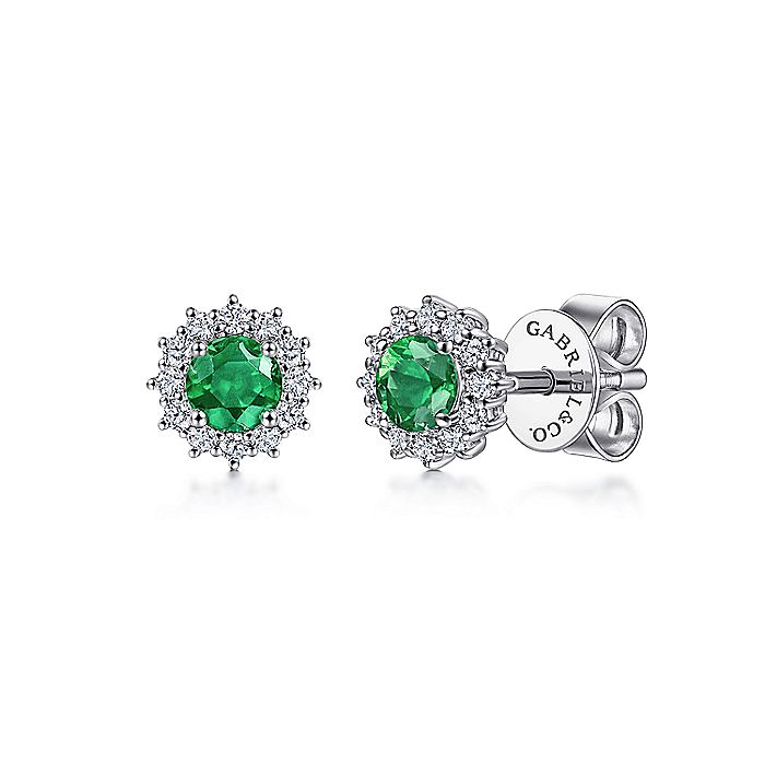 14K White Gold Emerald and Diamond Halo Stud Earrings