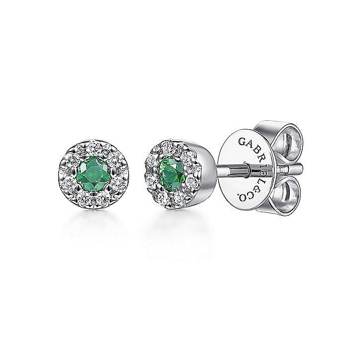 14K White Gold Emerald and Diamond Halo Stud Earrings