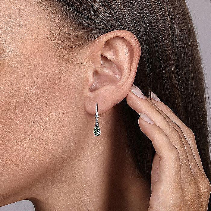 14K White Gold Emerald and Diamond Teardrop Earrings