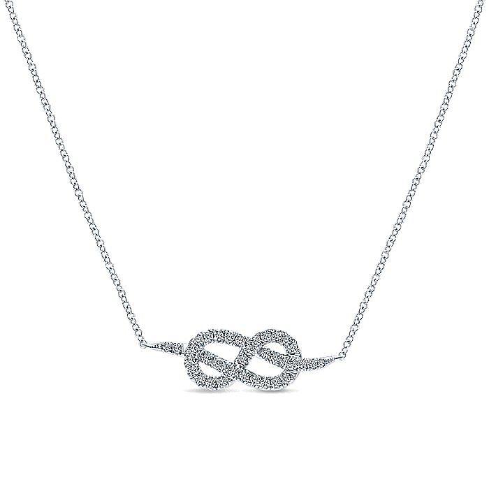 14K White Gold Eternal Love Infinity Diamond Pendant Necklace