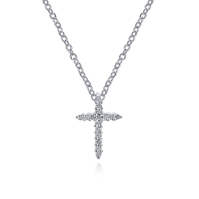 14K White Gold Fashion Cross Pendant