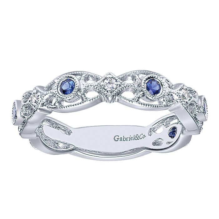 14K White Gold Filigree Band with Sapphire and Diamond Stations