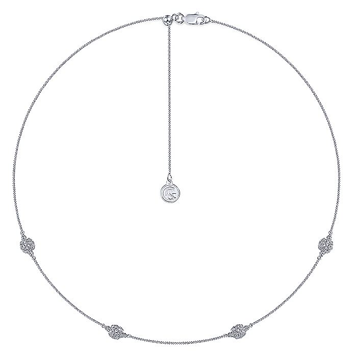 14K White Gold Filigree Diamond Station Necklace