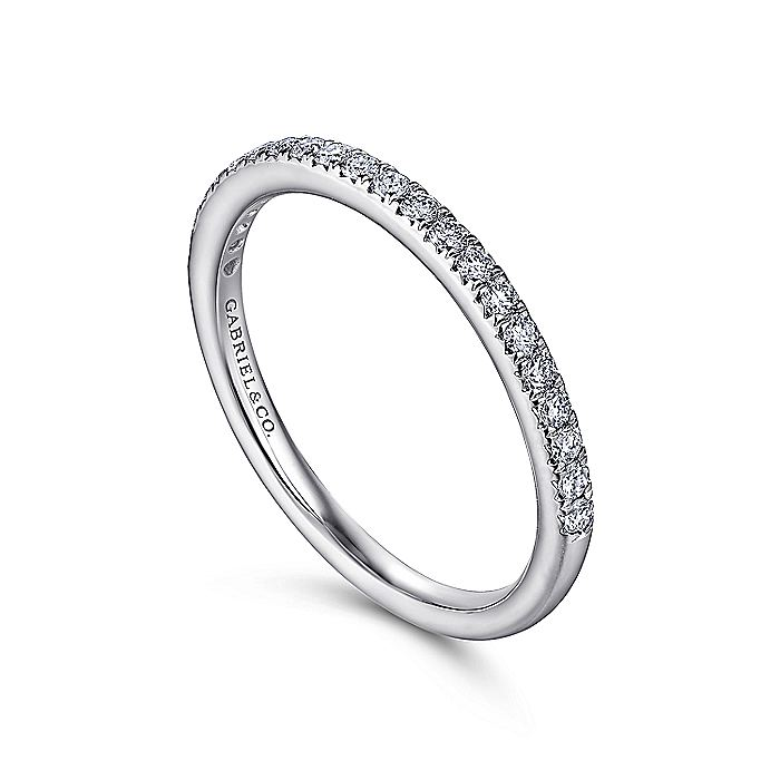 14K White Gold Fishtail Pavé Diamond Wedding Band