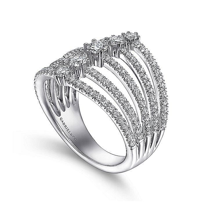 14K White Gold Five Row Diamond Station Ring