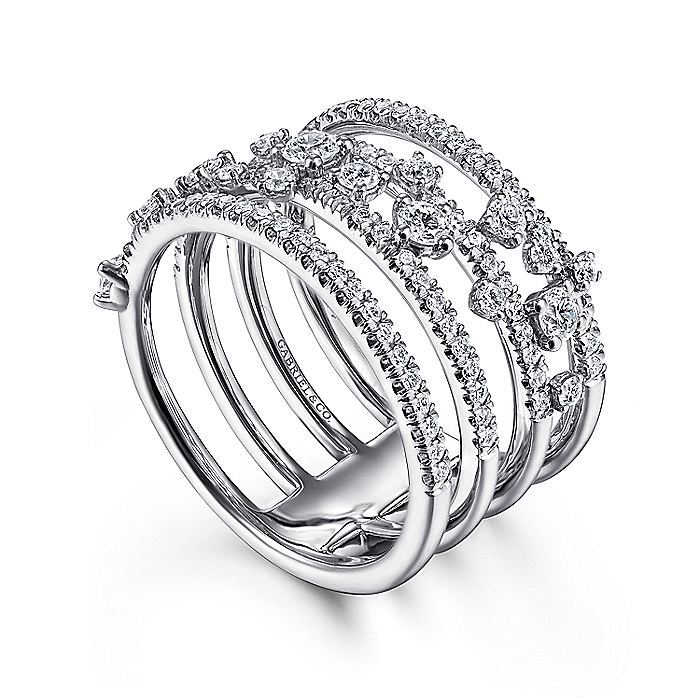 14K White Gold Five Row Pavé Ring with Cluster Diamond Accent