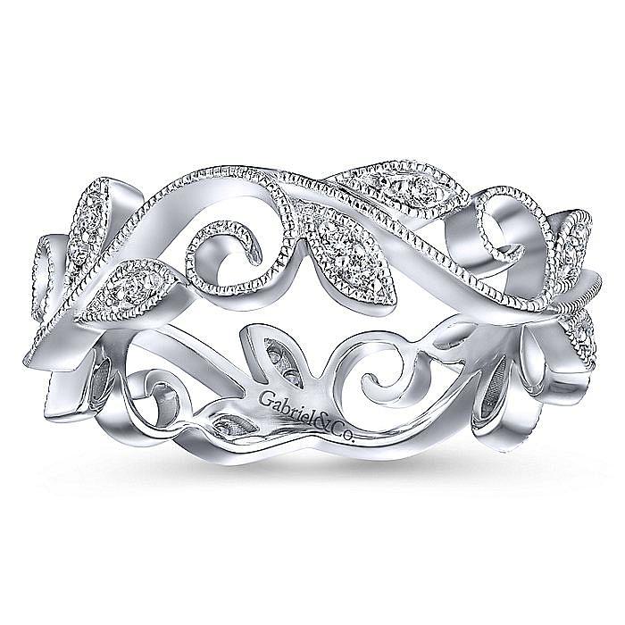 14K White Gold Floral Branch Diamond Eternity Ring