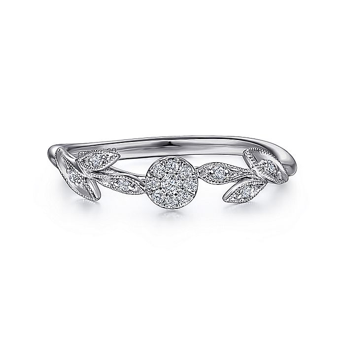 14K White Gold Floral Diamond Stackable Ring