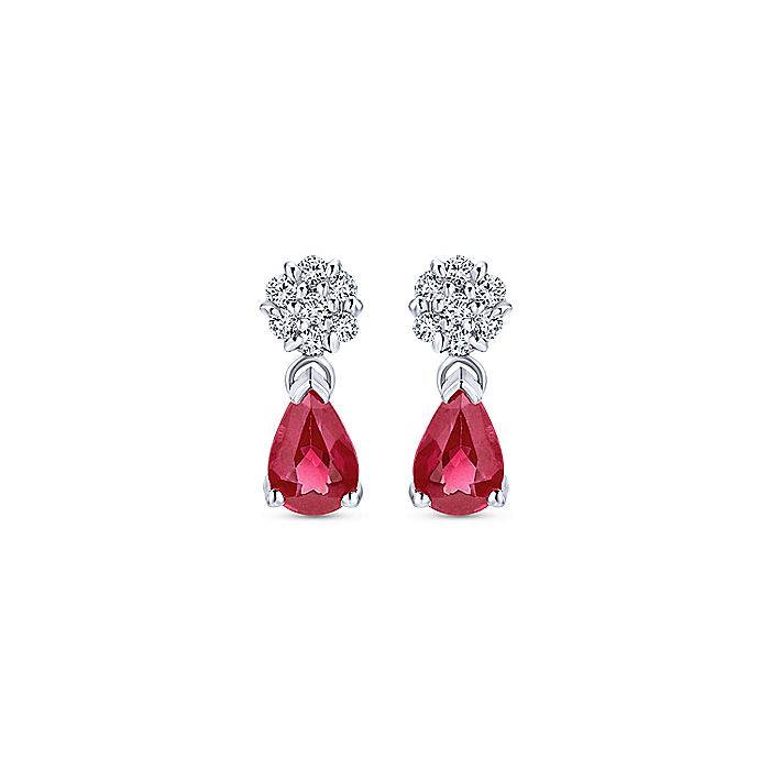 14K White Gold Floral Diamond Stud Earrings with Pear Shaped Ruby Drops