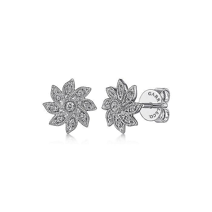 14K White Gold Floral Diamond Stud Earrings
