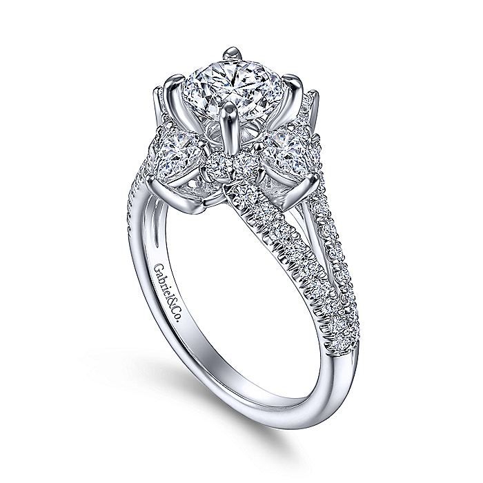 14K White Gold Floral Halo Round Diamond Engagement Ring