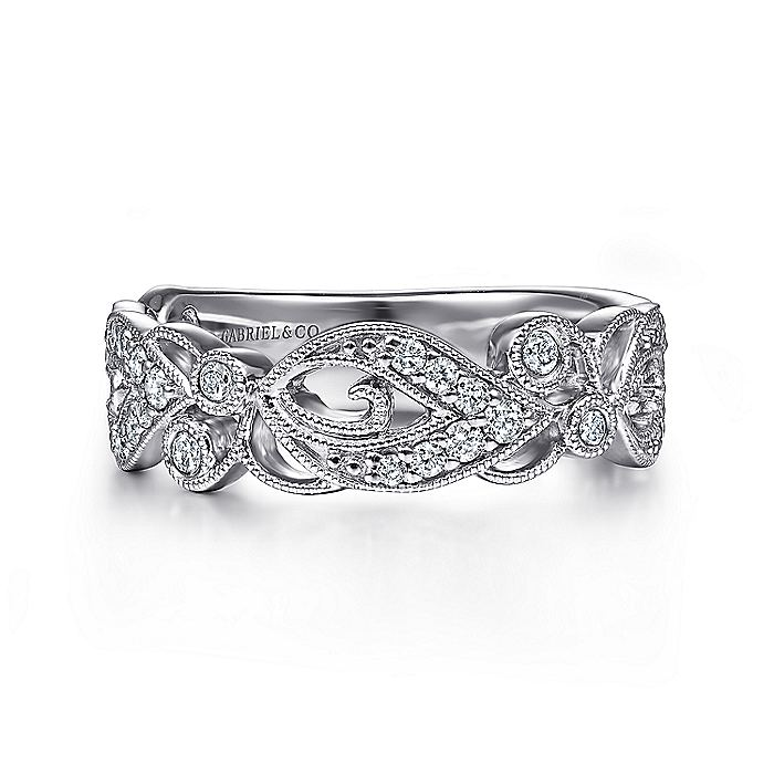 14K White Gold Floral Inspired Diamond Stackable Ring