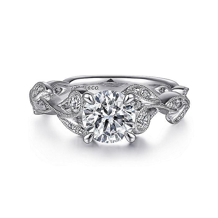 14K White Gold Floral Round Diamond Engagement Ring