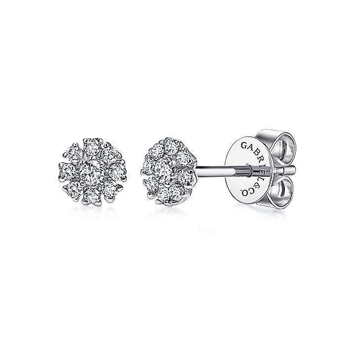14K White Gold Floral Round Diamond Stud Earrings