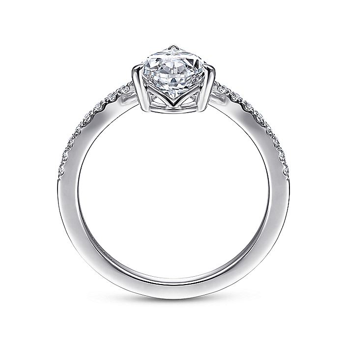 14K White Gold Free Form Pear Shape Diamond Engagement Ring