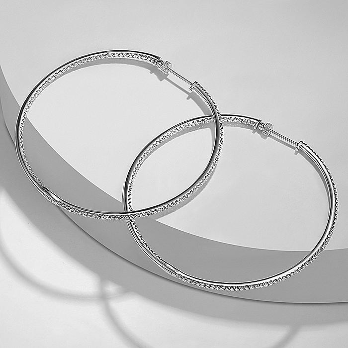 14K White Gold French Pavé 60mm Round Inside Out Diamond Hoop Earrings