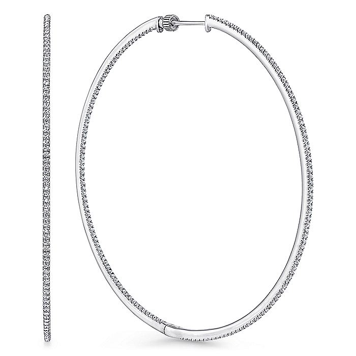 14K White Gold French Pavé 70mm Round Inside Out Diamond Hoop Earrings