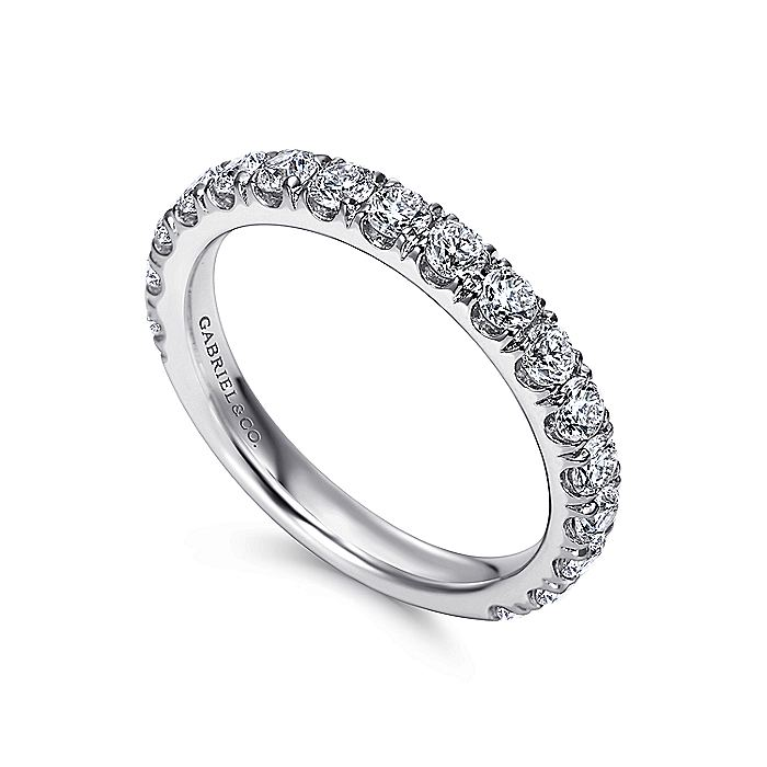 14K White Gold French Pavé Diamond Anniversary Band