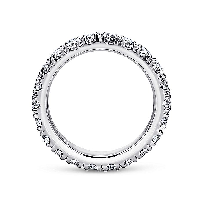 14K White Gold French Pavé Set Diamond Eternity Band