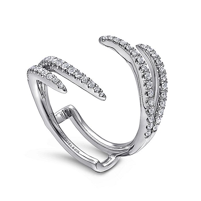 14K White Gold French Pavé Set Diamond Ring Enhancer