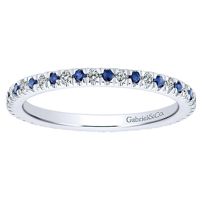 14K White Gold French Pavé Set Sapphire and Diamond Eternity Band