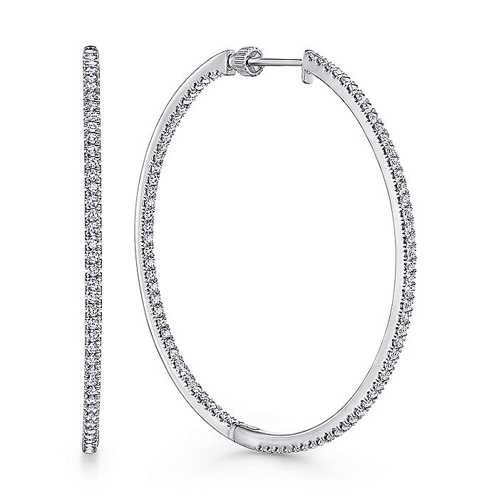 14K White Gold French Pave 50mm Round Inside Out Diamond Hoop Earrings