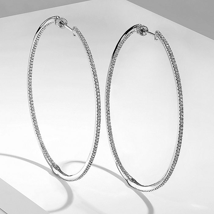 14K White Gold French Pave 60mm Round Inside Out Diamond Hoop Earrings