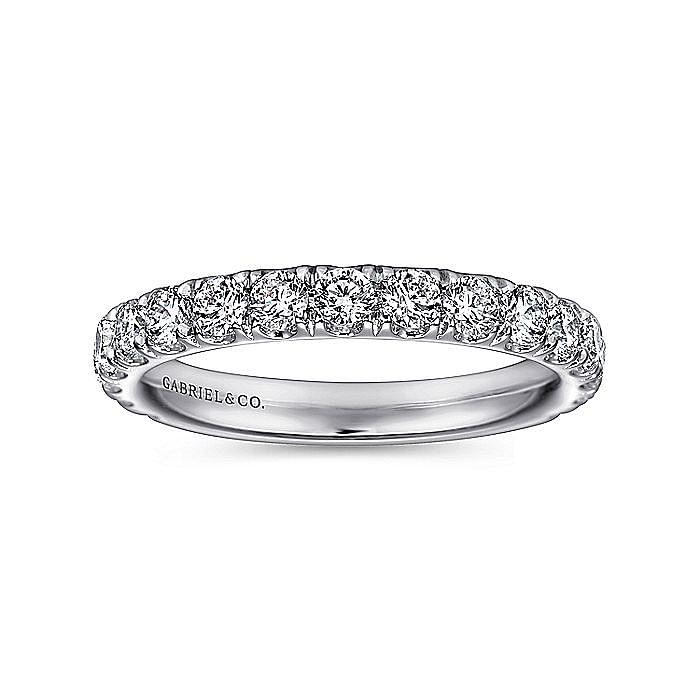 14K White Gold French pave Diamond Wedding Band