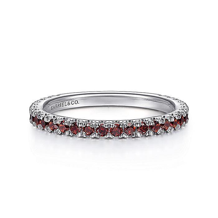 14K White Gold Garnet Stacklable Ring