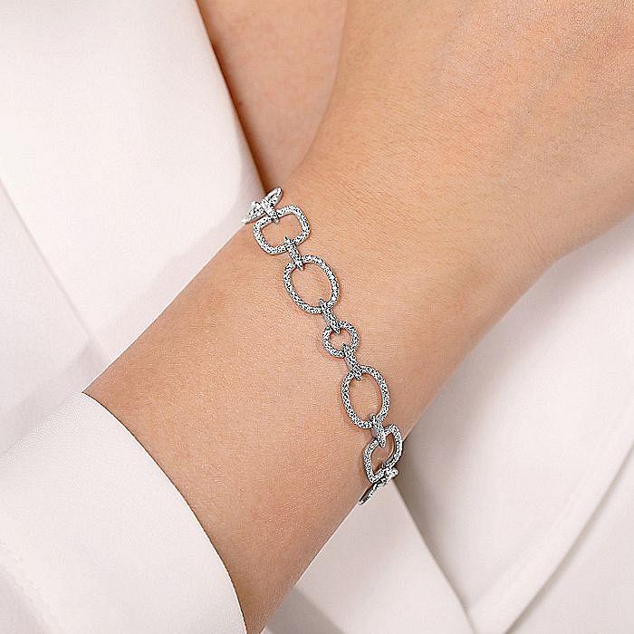 14K White Gold Geometric Diamond Links Tennis Bracelet