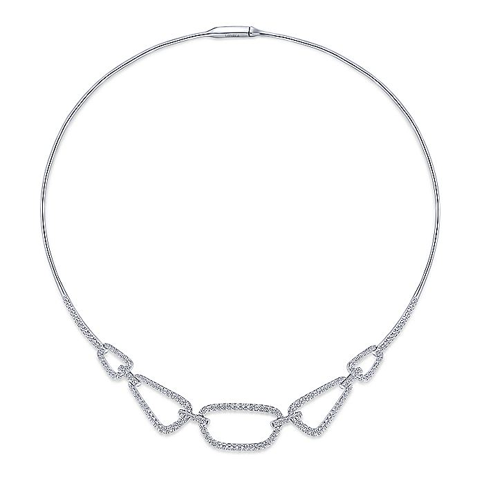 14K White Gold Geometric Link Diamond Necklace