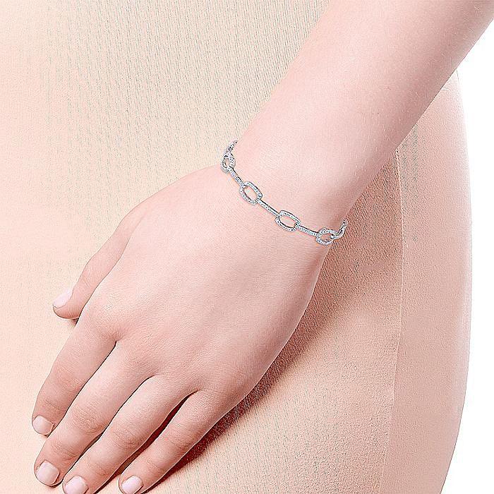 14K White Gold Geometric Link Diamond Tennis Bracelet