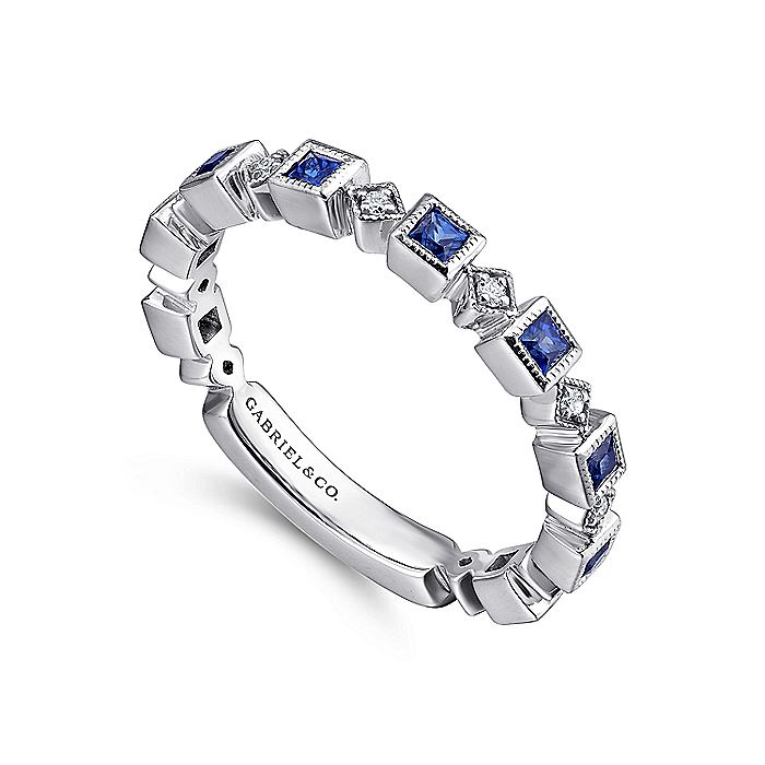 14K White Gold Geometric Sapphire and Diamond Stackable Ring