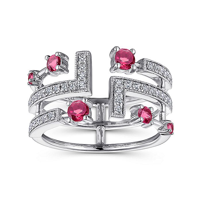 14K White Gold Geometric Wide Band Diamond and Ruby Ring