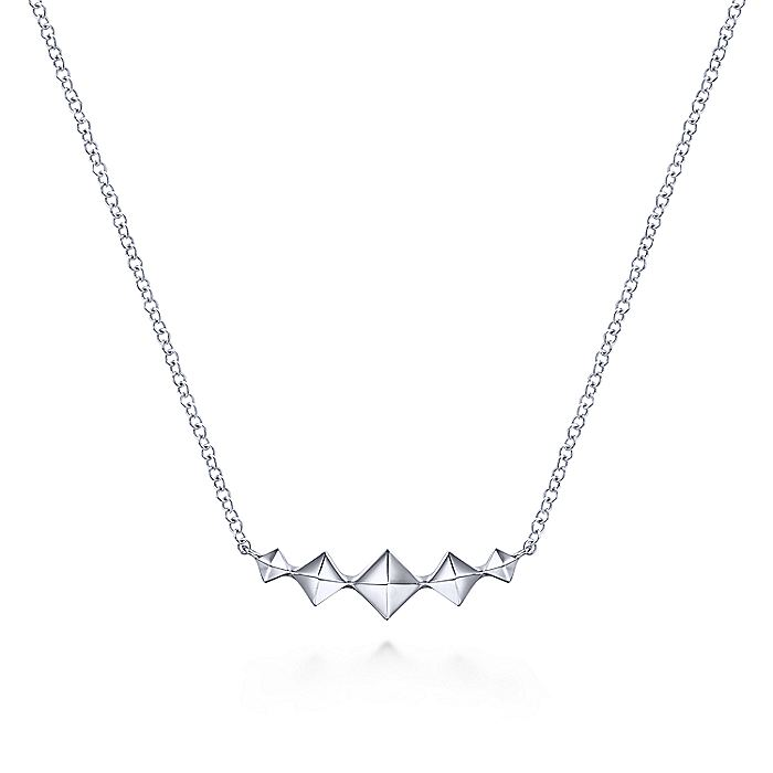 14K White Gold Graduated Pyramid Bar Necklace